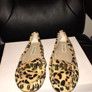 Leopard print flats with calf hair